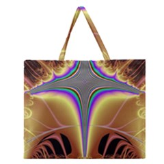 Symmetric Fractal Zipper Large Tote Bag by Simbadda