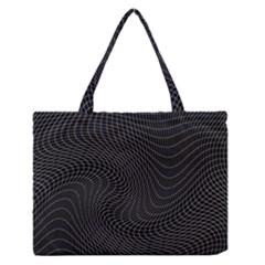 Distorted Net Pattern Medium Zipper Tote Bag by Simbadda