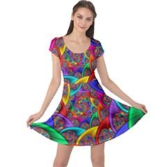 Color Spiral Cap Sleeve Dresses