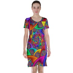 Color Spiral Short Sleeve Nightdress