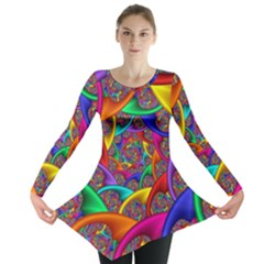 Color Spiral Long Sleeve Tunic  by Simbadda