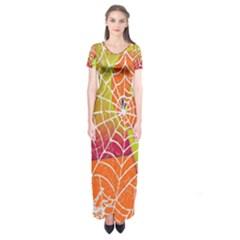 Orange Guy Spider Web Short Sleeve Maxi Dress by Simbadda