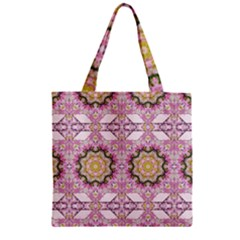 Floral Pattern Seamless Wallpaper Zipper Grocery Tote Bag by Simbadda