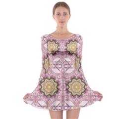 Floral Pattern Seamless Wallpaper Long Sleeve Skater Dress