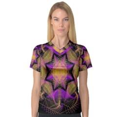 Pattern Design Geometric Decoration Women s V-Neck Sport Mesh Tee