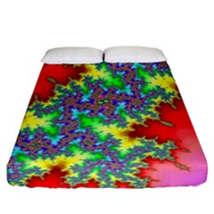 Colored Fractal Background Fitted Sheet (king Size) by Simbadda
