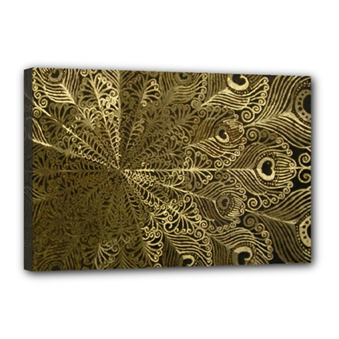 Peacock Metal Tray Canvas 18  X 12  by Simbadda