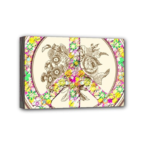 Peace Logo Floral Pattern Mini Canvas 6  X 4  by Simbadda