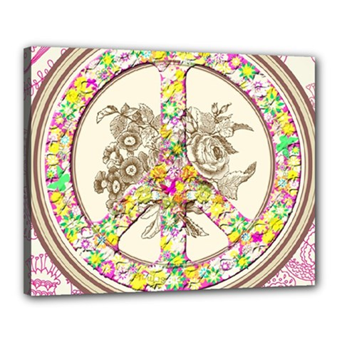Peace Logo Floral Pattern Canvas 20  X 16  by Simbadda