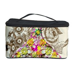 Peace Logo Floral Pattern Cosmetic Storage Case by Simbadda
