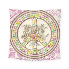 Peace Logo Floral Pattern Square Tapestry (small) by Simbadda