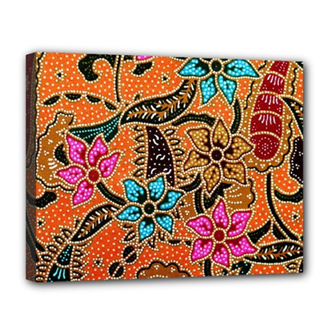 Colorful The Beautiful Of Art Indonesian Batik Pattern Canvas 14  X 11  by Simbadda