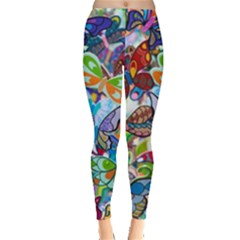 Color Butterfly Texture Leggings  by Simbadda