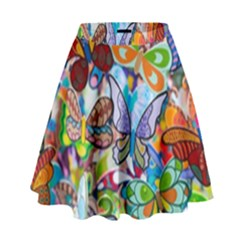 Color Butterfly Texture High Waist Skirt by Simbadda