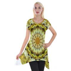 Fractal Flower Short Sleeve Side Drop Tunic