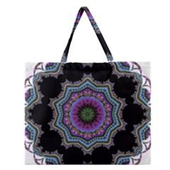 Fractal Lace Zipper Large Tote Bag by Simbadda
