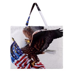 Independence Day United States Zipper Large Tote Bag by Simbadda