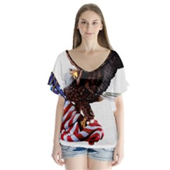 Independence Day United States Flutter Sleeve Top by Simbadda