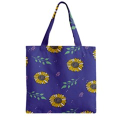 Floral Flower Rose Sunflower Star Leaf Pink Green Blue Yelllow Zipper Grocery Tote Bag by Alisyart