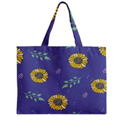 Floral Flower Rose Sunflower Star Leaf Pink Green Blue Yelllow Zipper Mini Tote Bag by Alisyart