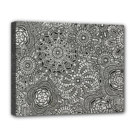 Flower Floral Rose Sunflower Black White Deluxe Canvas 20  X 16   by Alisyart