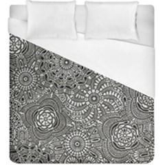 Flower Floral Rose Sunflower Black White Duvet Cover (king Size) by Alisyart