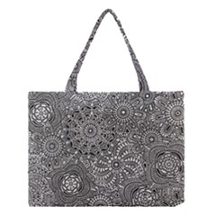 Flower Floral Rose Sunflower Black White Medium Tote Bag by Alisyart