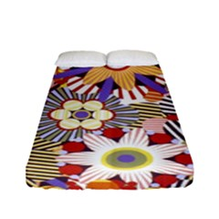 Flower Floral Sunflower Rainbow Frame Fitted Sheet (full/ Double Size) by Alisyart