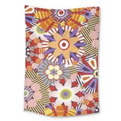 Flower Floral Sunflower Rainbow Frame Large Tapestry by Alisyart