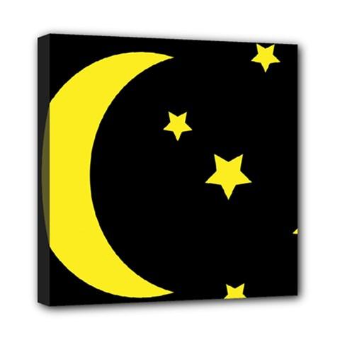 Moon Star Light Black Night Yellow Mini Canvas 8  X 8  by Alisyart
