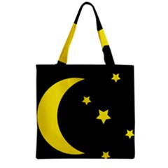 Moon Star Light Black Night Yellow Grocery Tote Bag by Alisyart