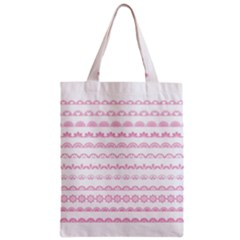 Pink Lace Borders Pink Floral Flower Love Heart Zipper Classic Tote Bag by Alisyart