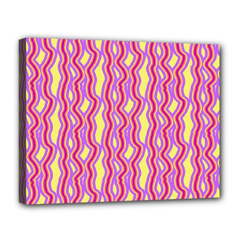 Pink Yelllow Line Light Purple Vertical Canvas 14  X 11  by Alisyart
