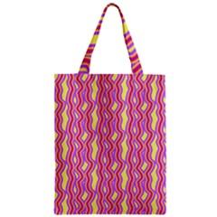 Pink Yelllow Line Light Purple Vertical Zipper Classic Tote Bag by Alisyart