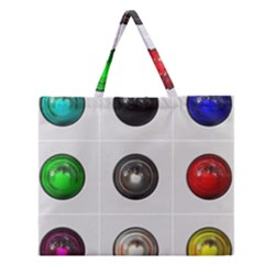 9 Power Buttons Zipper Large Tote Bag by Simbadda