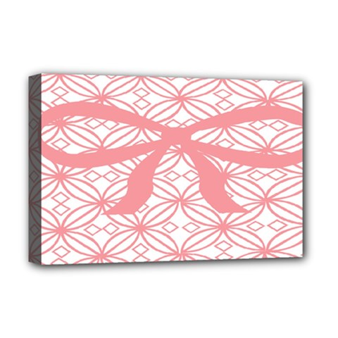 Pink Plaid Circle Deluxe Canvas 18  X 12   by Alisyart