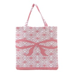Pink Plaid Circle Grocery Tote Bag by Alisyart