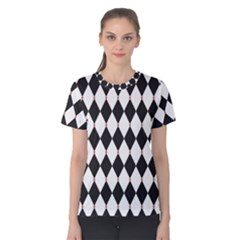 Plaid Triangle Line Wave Chevron Black White Red Beauty Argyle Women s Cotton Tee by Alisyart