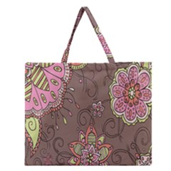 Ice Cream Flower Floral Rose Sunflower Leaf Star Brown Zipper Large Tote Bag by Alisyart