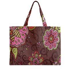 Ice Cream Flower Floral Rose Sunflower Leaf Star Brown Medium Tote Bag by Alisyart
