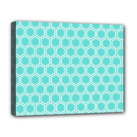 Plaid Circle Blue Wave Deluxe Canvas 20  X 16   by Alisyart