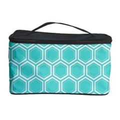 Plaid Circle Blue Wave Cosmetic Storage Case by Alisyart