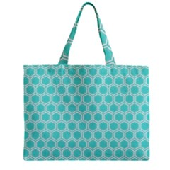 Plaid Circle Blue Wave Zipper Mini Tote Bag by Alisyart