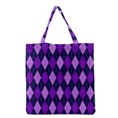 Plaid Triangle Line Wave Chevron Blue Purple Pink Beauty Argyle Grocery Tote Bag by Alisyart