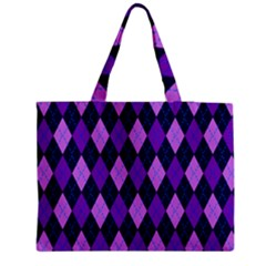 Plaid Triangle Line Wave Chevron Blue Purple Pink Beauty Argyle Medium Tote Bag by Alisyart
