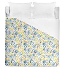 Flower Floral Bird Peacok Sunflower Star Leaf Rose Duvet Cover (queen Size) by Alisyart