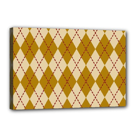 Plaid Triangle Line Wave Chevron Orange Red Grey Beauty Argyle Canvas 18  X 12  by Alisyart