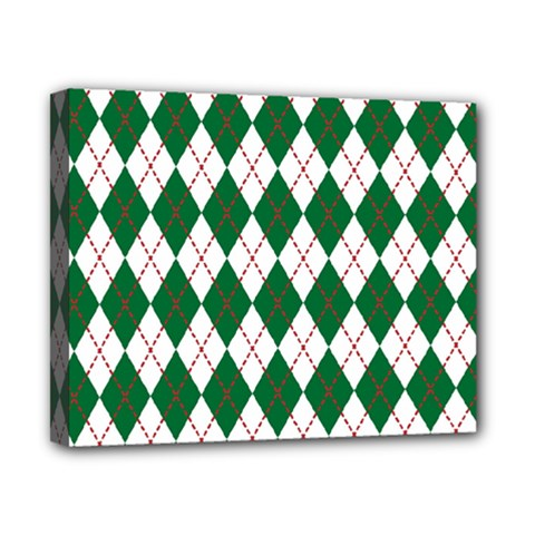 Plaid Triangle Line Wave Chevron Green Red White Beauty Argyle Canvas 10  X 8  by Alisyart