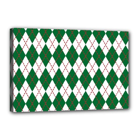 Plaid Triangle Line Wave Chevron Green Red White Beauty Argyle Canvas 18  X 12  by Alisyart
