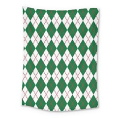 Plaid Triangle Line Wave Chevron Green Red White Beauty Argyle Medium Tapestry by Alisyart